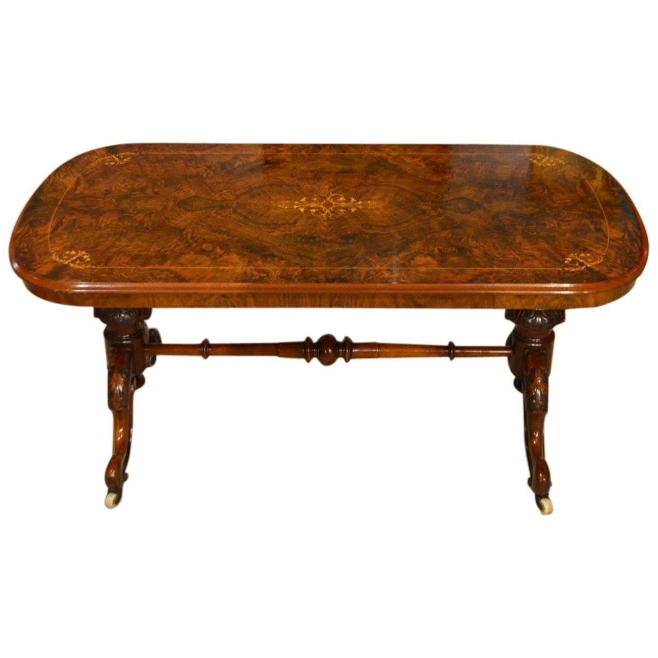A burr walnut and marquetry inlaid victorian period antique coffee table at 1stdibs Coffee table antique