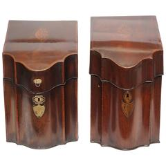 Pair of Antique Georgian Mahogany Knife Boxes, circa 1830-1840