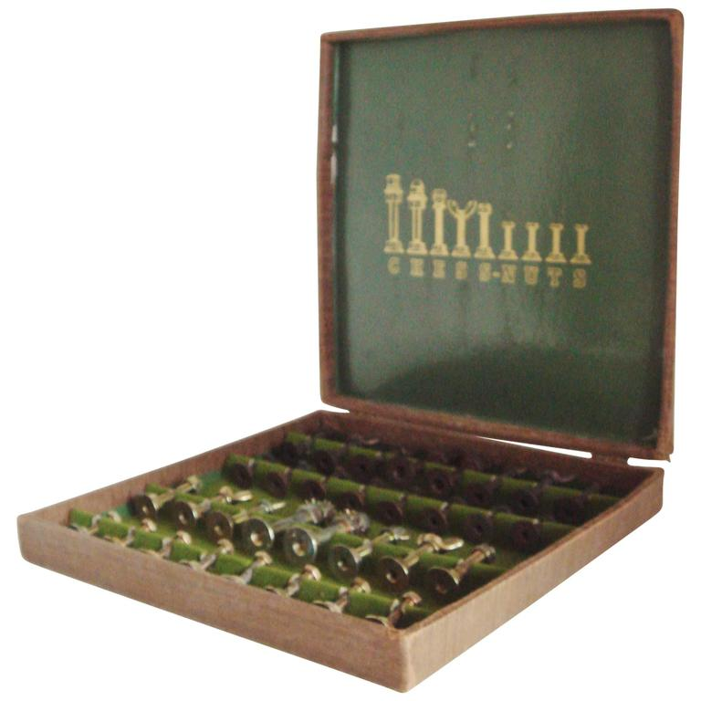 American Boxed Chess Set 'Chess-Nuts' by Invento for Hammacher Schlemmer.