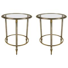 Pair of 1940s French Ormolu-Trimmed Glass End Tables, Attributed to Jansen