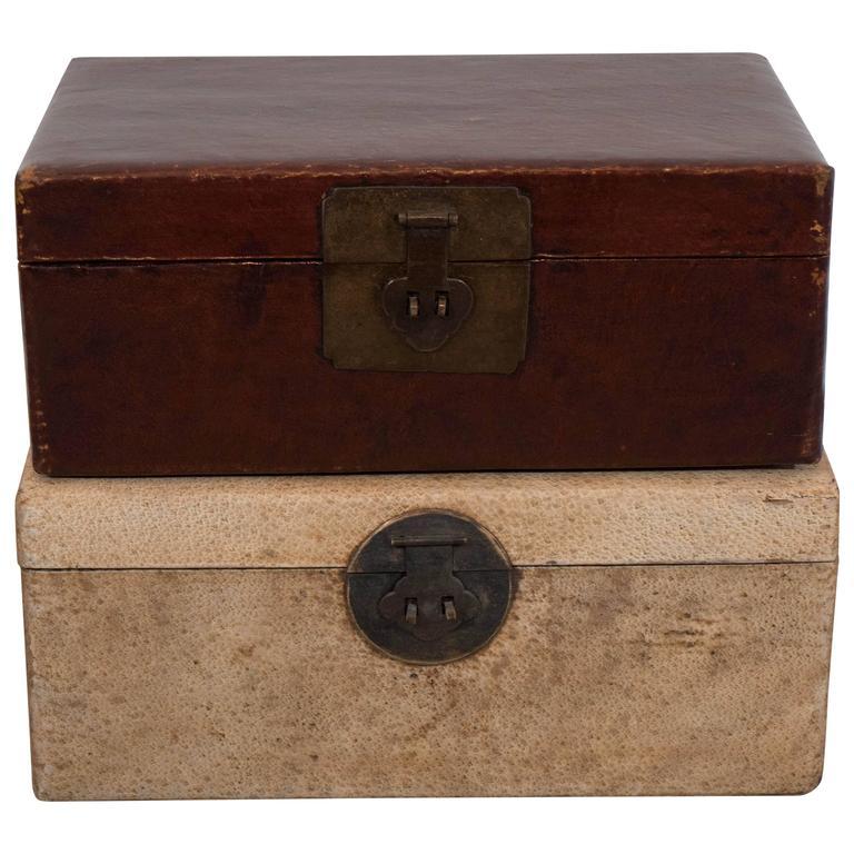 Antique Parchment Leather Document Boxes