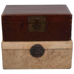 Antique Parchment Leather Document Boxes