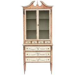 Narrow Faux Boix, Classical Painted Cabinet