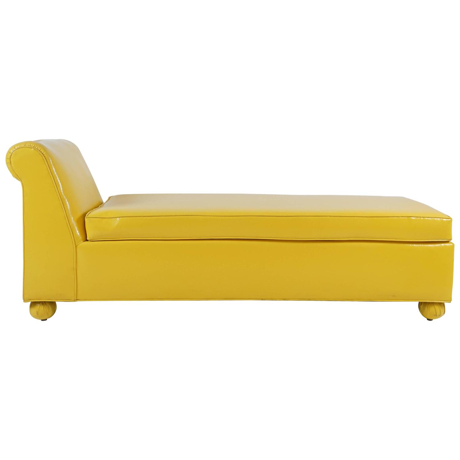 vintage yellow chaise lounge at 1stdibs. Black Bedroom Furniture Sets. Home Design Ideas
