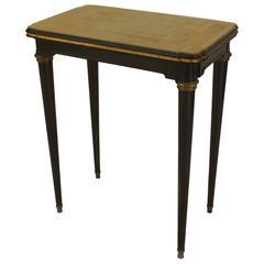 French Ormolu-Trimmed Ebonized End Table by Maison Jansen