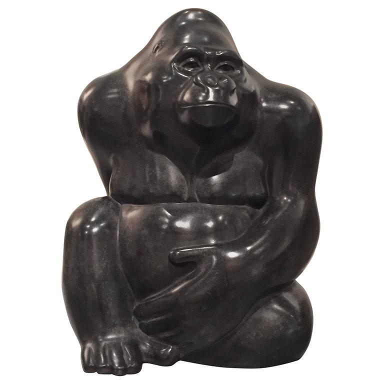 British Bronze Gorilla Sculpture by Michael Cooper