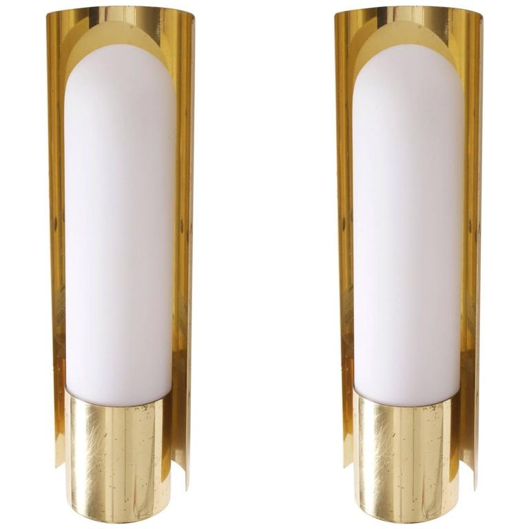 One of Three Brass and Glass Wall Lights Lamps or Sconces by Glashütte Limburg