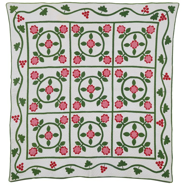 Floral Wreaths Quilt For Sale