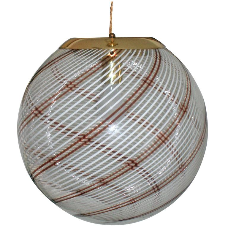 Large Italian Swirl Design Handblown Glass Globe Pendant