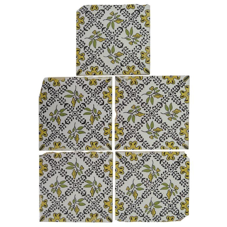 19th C Set Of Five Dutch Delft Tiles Polychrome Hand