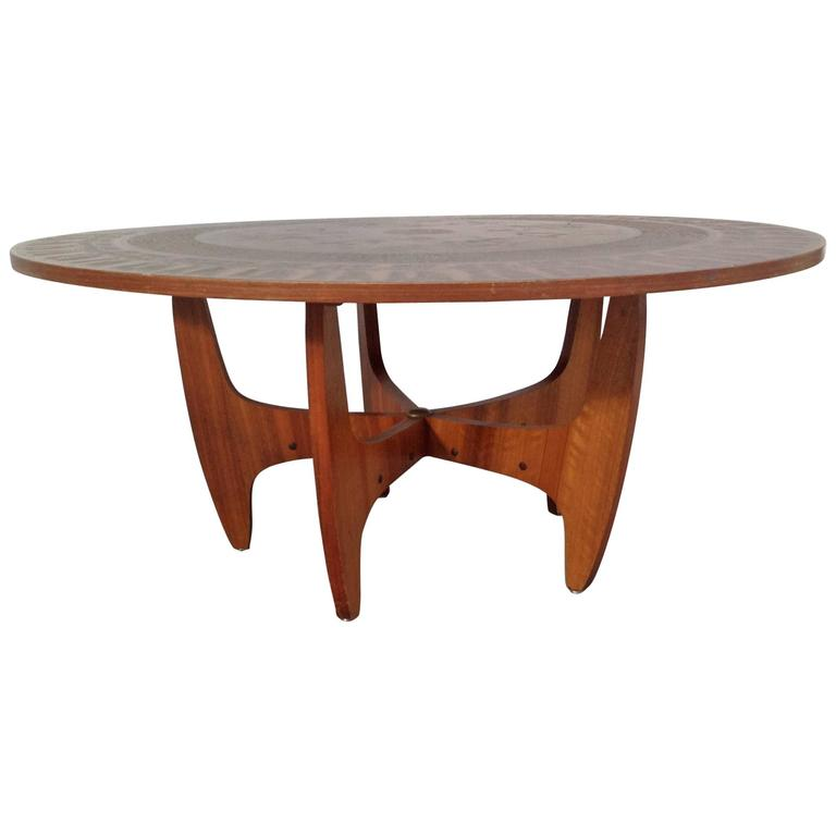 Round Copper Leaf Coffee Table For Sale
