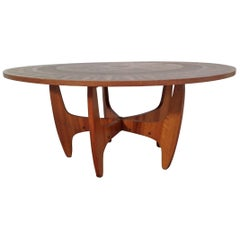 Round Copper Leaf Coffee Table
