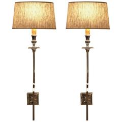 Pair of 1940s French Sconces, in the Style of André Arbus