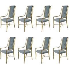 Eight Brass Dining Chairs by Mastercraft