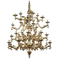 French Gilt Bronze Chandelier, Louis XIII Period