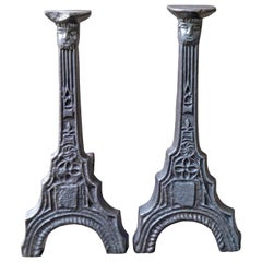 15th Century Gothic Andirons, Firedogs