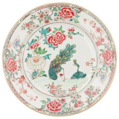 Chinese Porcelain Famille Rose Peacock Dish, 18th Century