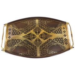 Brass and Rosewood Inlay Tray by Erhard & Sohne