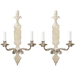 Pair of Two-Light Silver Nickel Sconces with Shaped Backplate