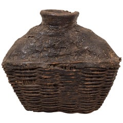 Large Antique Woven Oil Container