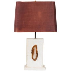 Georges Mathias Style Marble Lamp with Agate