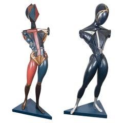 Pair of Italian Futurist Male and Female Sculptures