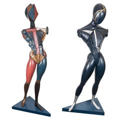 Pair of Italian Futurist Male and Female Sculptures