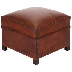 French Vintage Leather Ottoman