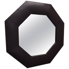 1950s Octagonal Brown Leather Mirror