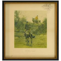 """""""The Stone Faceder"""" Jumping over Irish Bank Signed Print by Snaffles, circa 1934"""