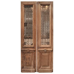 19th Century Solid Oak and Cast Iron French  Entrane Double Door