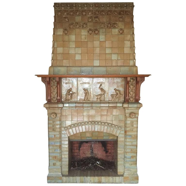 antique ceramic fireplace with hood by charles gr u00e9ber antique ceramic fireplace Ceramic Fireplace Logs