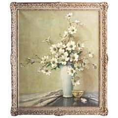 Impressionist Floral Still Life, Dogwood Blossoms by A. D. Greer