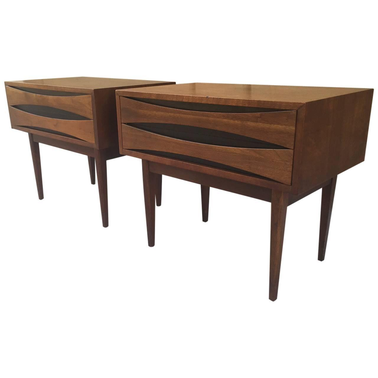 pair of mid century modern walnut nightstands for sale at