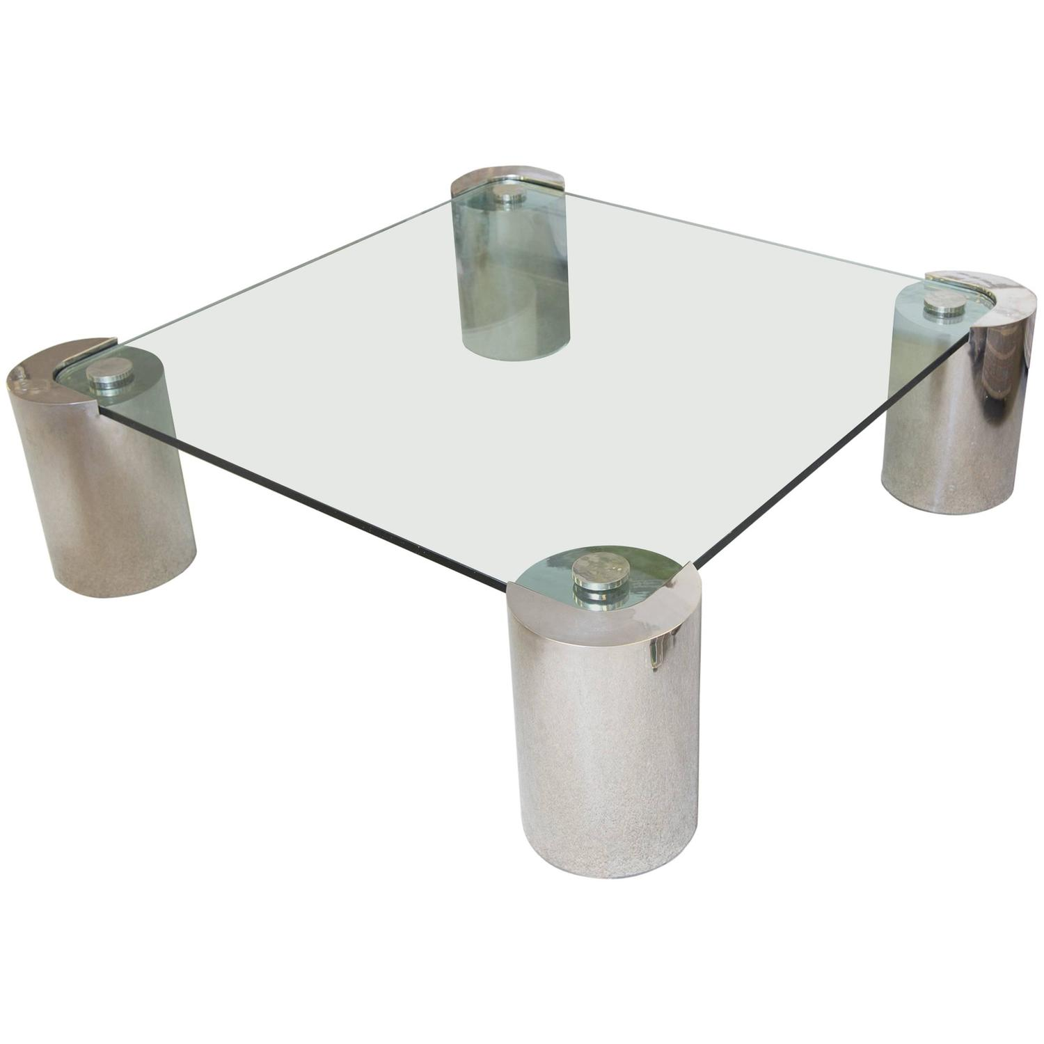 Karl Springer Style Glass Inset Coffee Table At 1stdibs