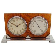 English Art Deco Chrome & Tortoiseshell Bakelite 8-Day Clock & Barometer Combo.