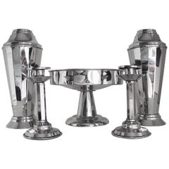 English Art Deco 5-Piece Cocktail Vases, Candlesticks & Compote Console Set.