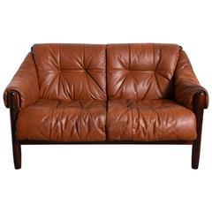 Scandinavian Rosewood-Leather Two-Seat Sofa