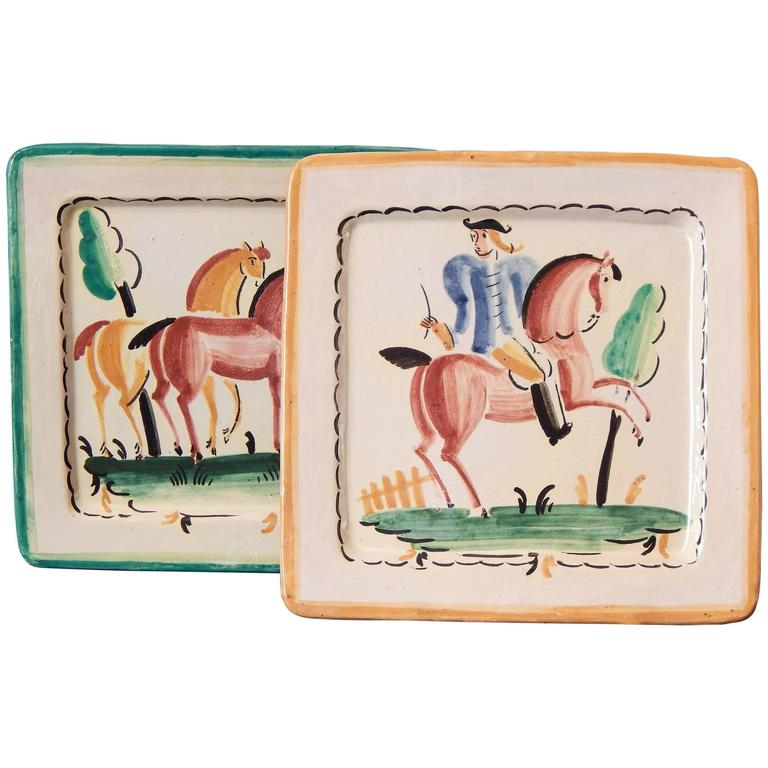 Art Deco Decorated Plates with Horses, Italian, Late 1920s