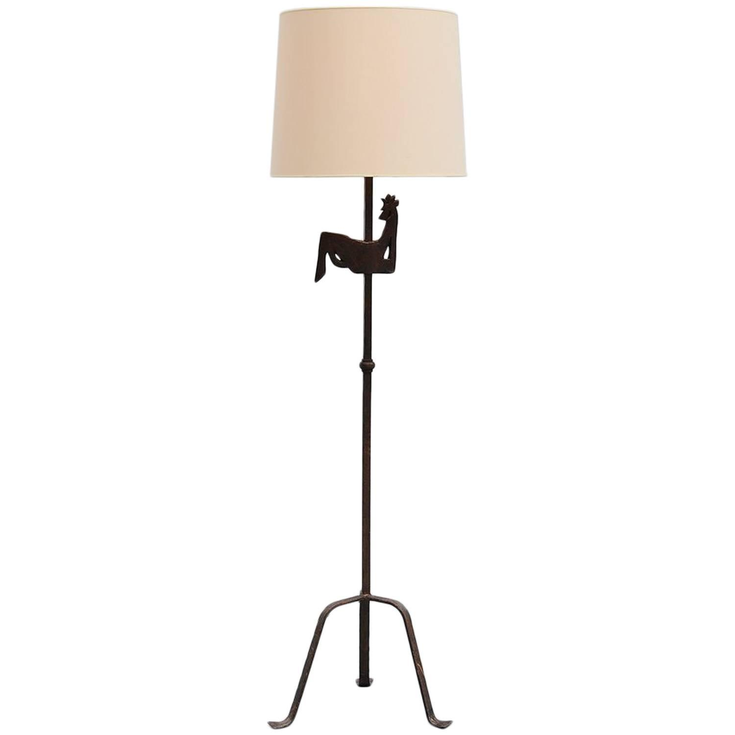wrought iron rooster floor lamp atelier morolles france. Black Bedroom Furniture Sets. Home Design Ideas