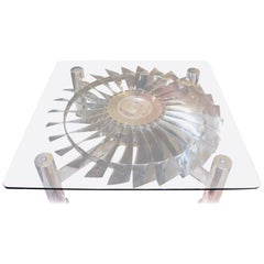 Coffee Table with a Turbine from Rolls Royce Pegasus