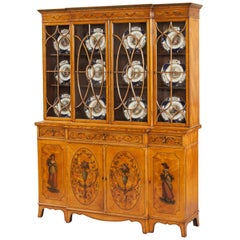 English Satinwood Library Bookcase with Neoclassical Decoration