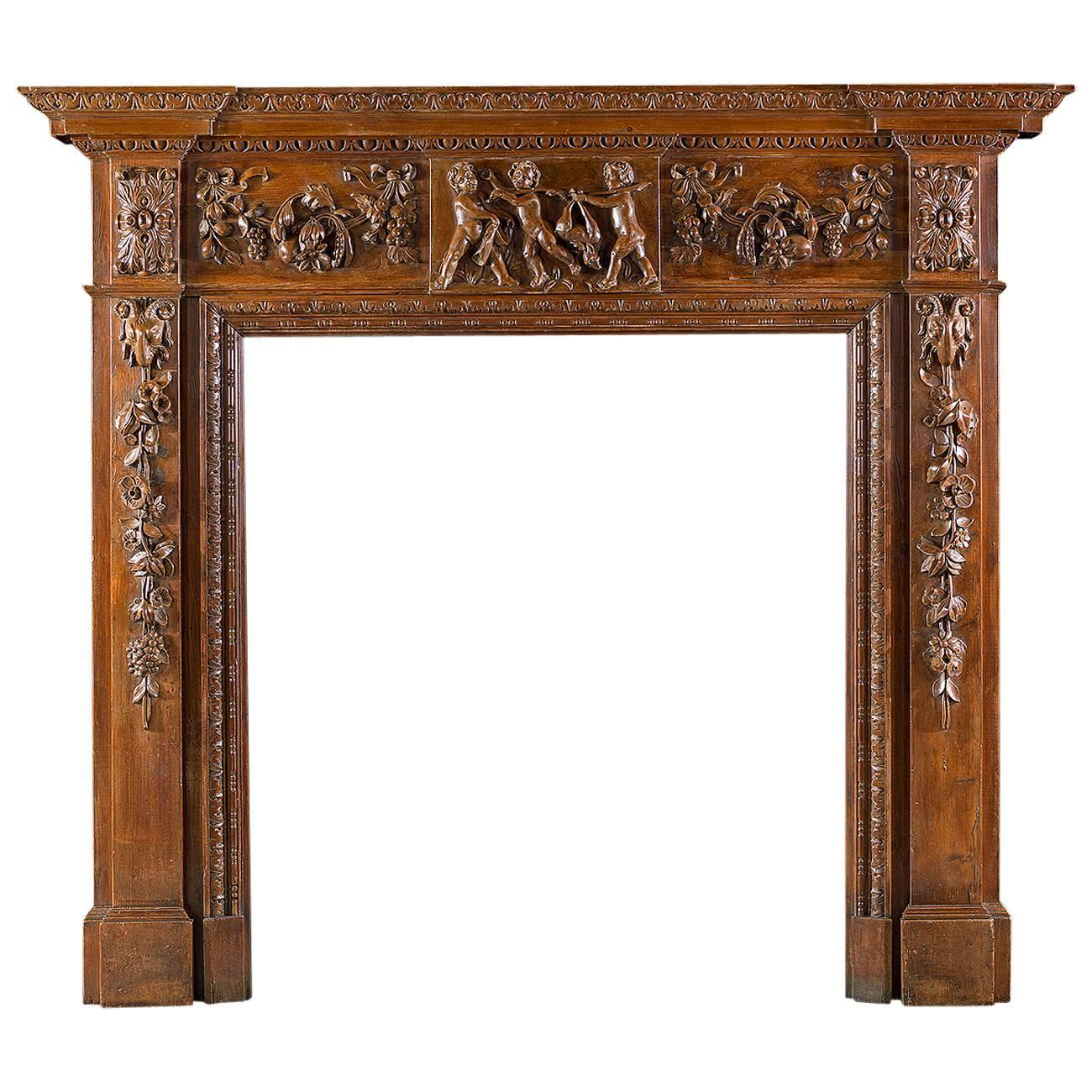 George Iii Style Carved Pine Antique Fireplace Mantel For Sale At 1stdibs