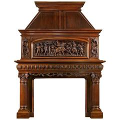 19th Century Antique French Fireplace Mantel Carved in Walnut