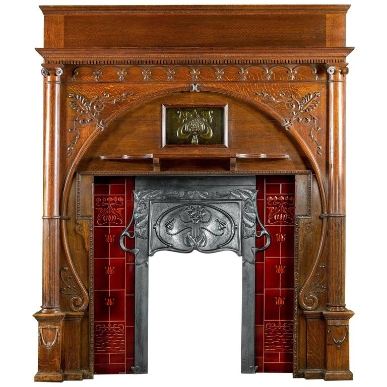 carved oak art nouveau antique fireplace mantel and integral cast iron insert 1 - Antique Fireplace Mantels