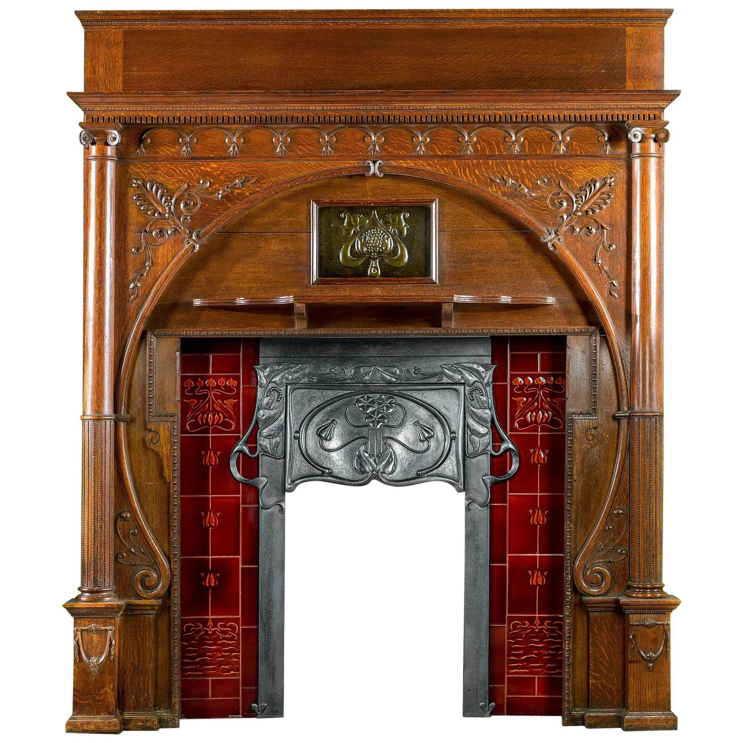 carved oak art nouveau antique fireplace mantel and integral cast