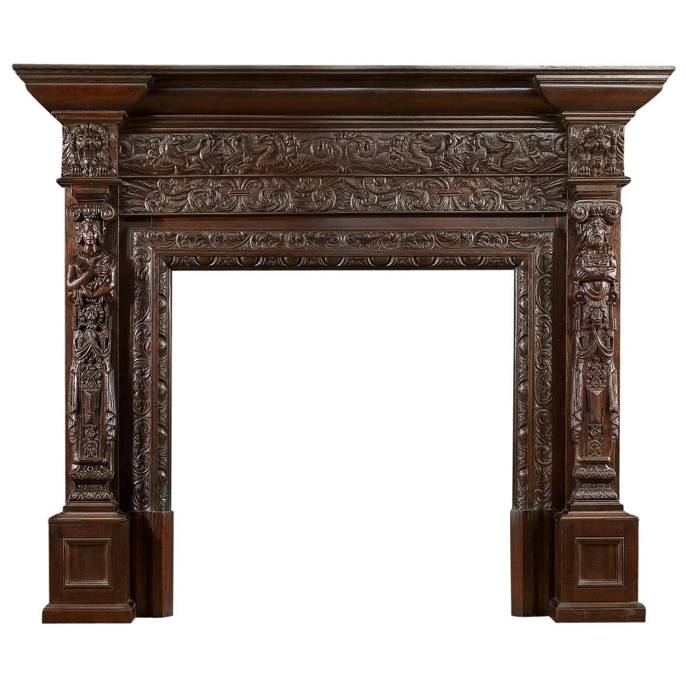 large english jacobean style carved oak antique fireplace