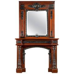 Rosewood and Ebony Antique Fireplace Mantel in the French Baroque Manner
