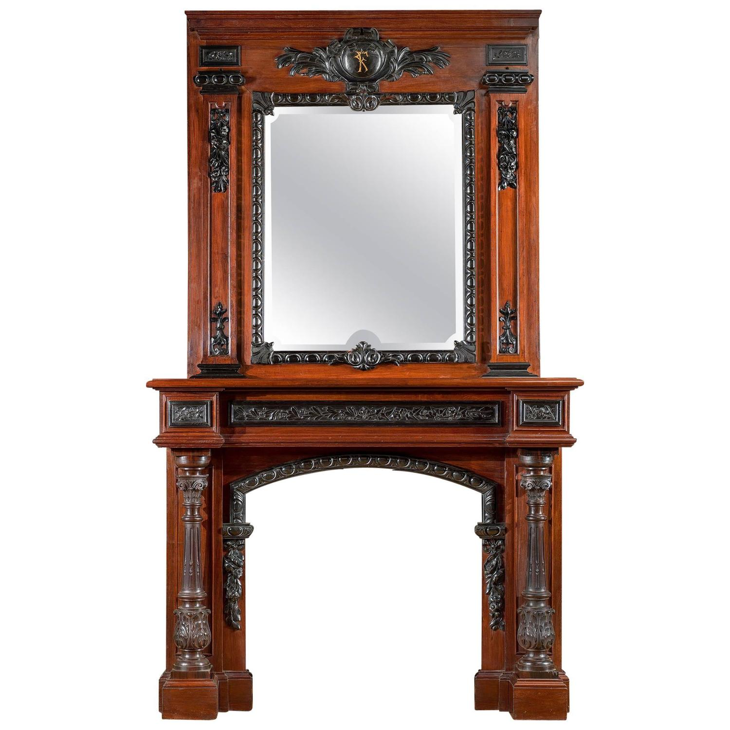 rosewood and ebony antique fireplace mantel in the french baroque