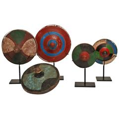 Set of Five Indonesian Wooden Tops on Stands